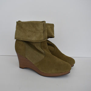 Suede Leather Fold Over Wedge Boots Booties 8 1/2